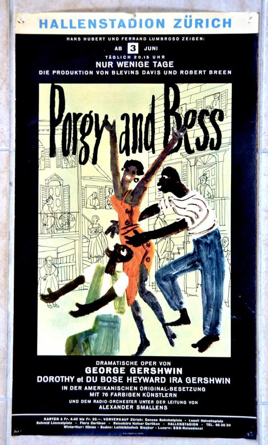 Rare Porgy and Bess - Hallenstadion Zurich Poster 1955