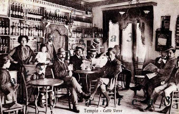 RARA CARTOLINA DI TEMPIO PAUSANIA CAFFE' VERRE 1915